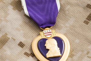 Purple Heart War Medal on Marine Cam