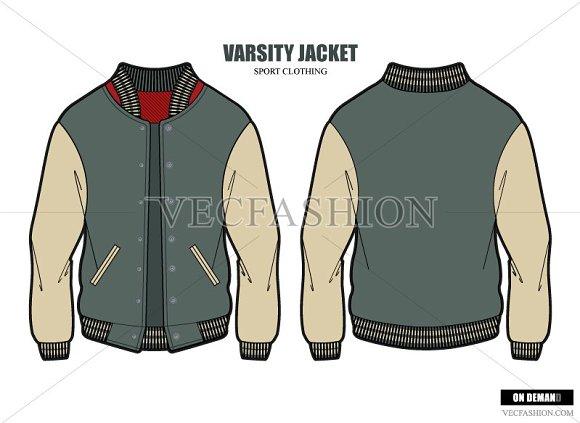 Men Varsity Jacket Vector Template