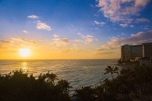 Beautiful Sunset at Waikiki Beach in