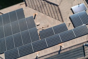 Solar Panels Installed on Roof of La
