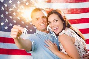 Military Couple Holding House Keys I