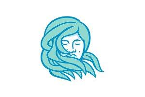 Polynesian Woman Flowing Hair Mascot