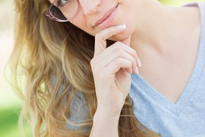 Young Adult Woman Wearing Glasses Ou
