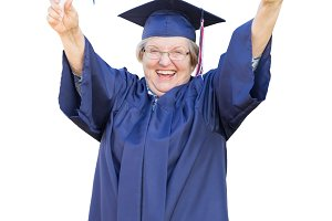 Senior Adult Woman Graduate On White