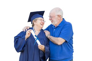 Senior Adult Woman Graduate in Cap a