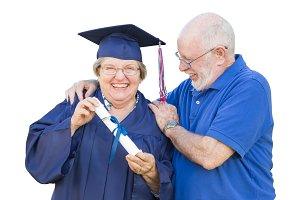 Senior Adult Woman Graduate in Cap a