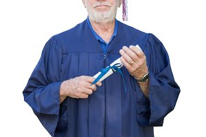 Proud Senior Adult Man Graduate In C