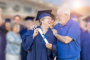 Senior Adult Woman In Cap and Gown B