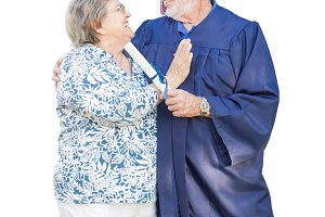 Senior Adult Man Graduate in Cap and