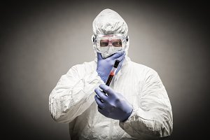 Man Wearing HAZMAT Protective Clothi
