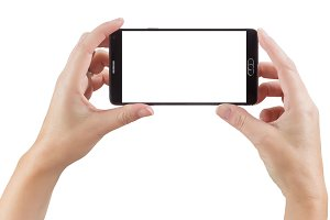 Female Hands Holding Smart Phone wit