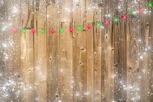 Wooden Background with Christmas Lig