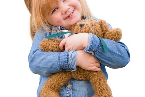 Cute Little Girl Holding Her Teddy B