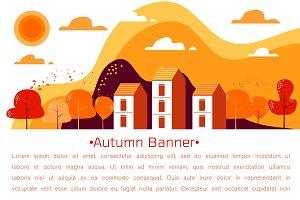 Banner of Autumn landscape