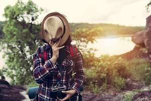 Hipster style women backpacker trave