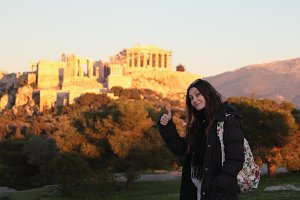 Girl near Acropolis.