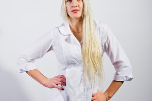 Attractive blonde female doctor or n