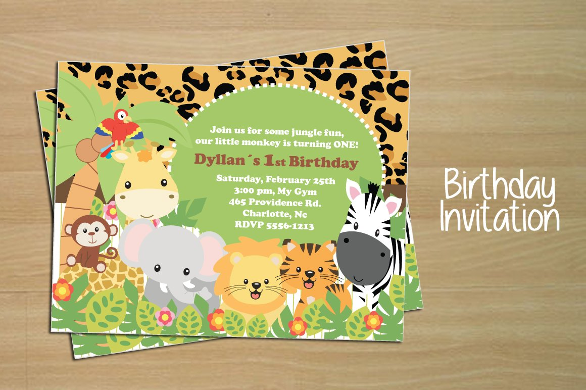Birthday invitation card jungle invitation templates birthday invitation card jungle invitation templates creative market stopboris Choice Image