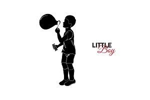 baby. Little boy blows bubbles