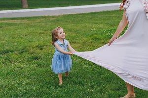 Little cute child baby girl running