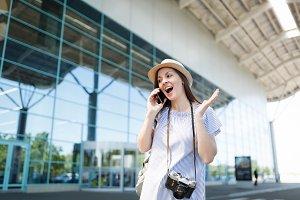 Surprised traveler tourist woman wit