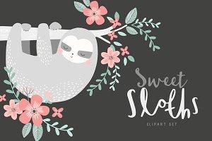Sweet Sloths Clipart Set