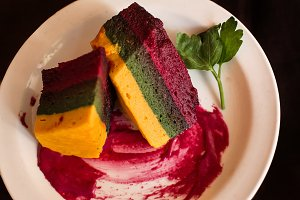 flan Andean corn vegetables, chard a
