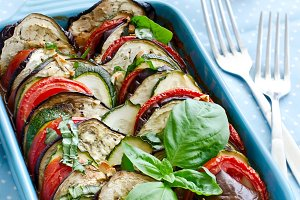 Ratatouille, baked vegetables dinner