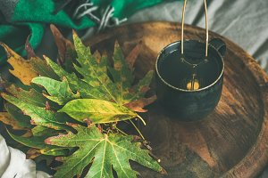 Mug of tea with fallen leaves on