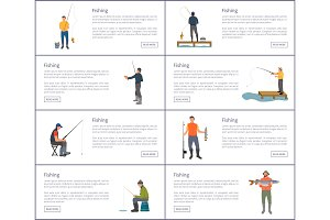Fishing Hobby and Sport Set Vector