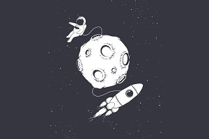astronaut with spaceship and moon