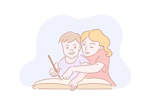 Two kids drawing homework in big