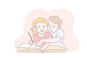 Two kids writting homework in