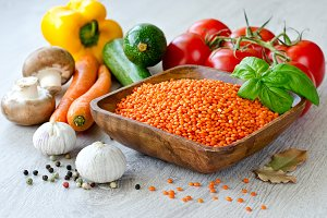 Vegetables and red lentils cooking