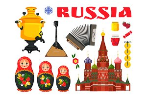 Collection of Russian Culture Vector