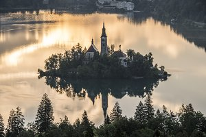 Church on the Island in Mist Sunrise