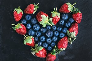 Garden strawberries and blueberries