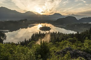 Peaceful Sunrise at Lake Bled