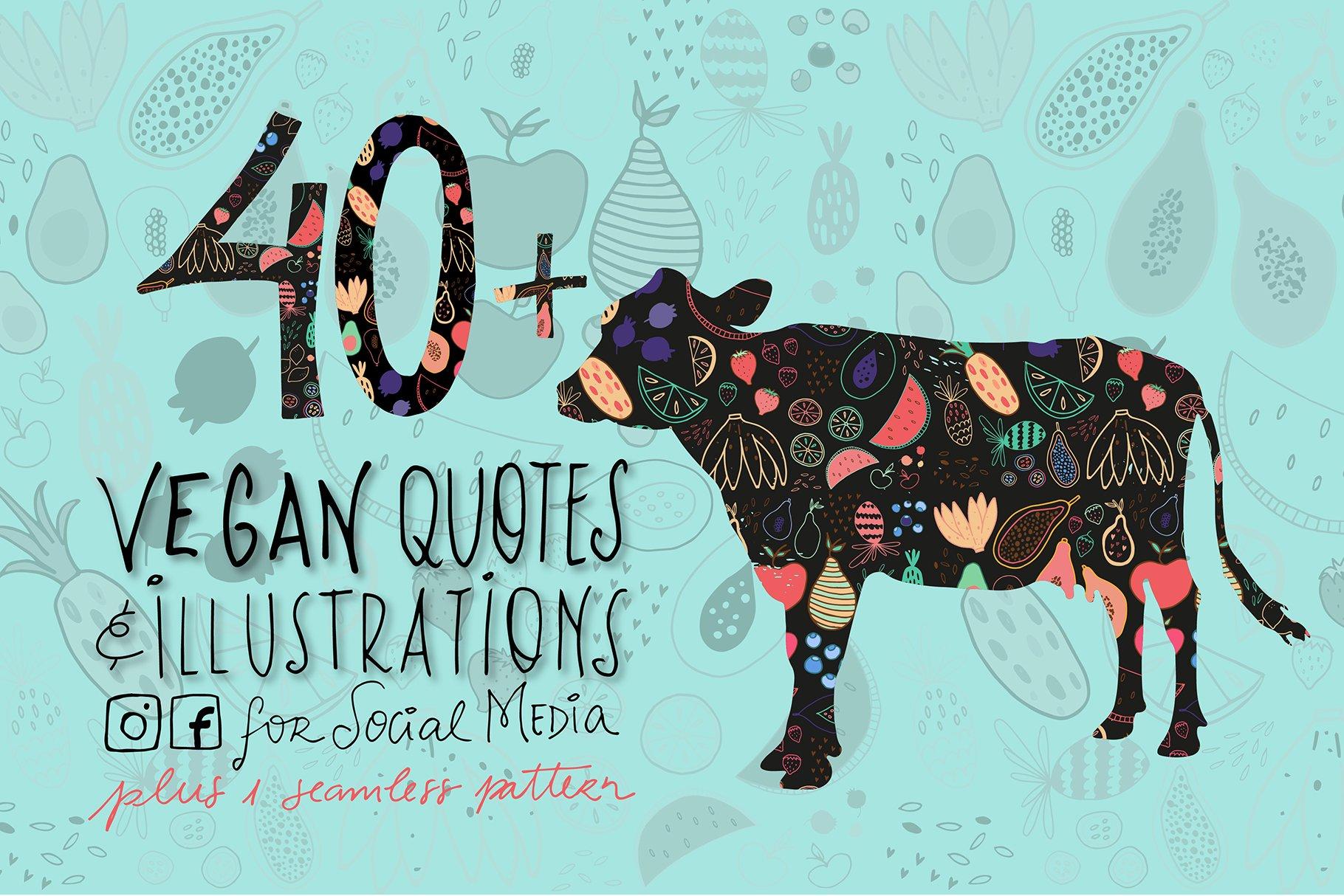 Socialmedia Illustrated Vegan Quotes Graphics Creative Market