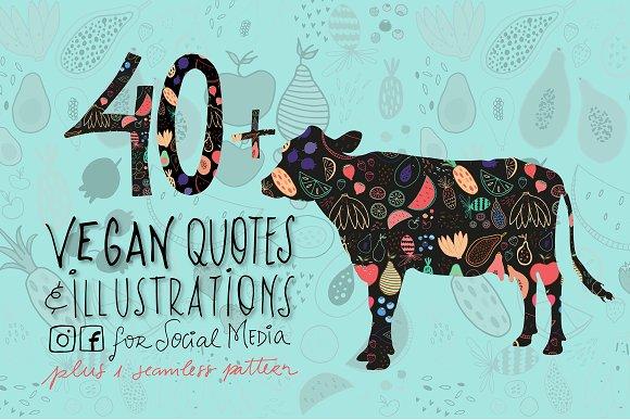 SocialMedia Illustrated Vegan Quotes Graphics Creative Market Fascinating Vegan Quotes