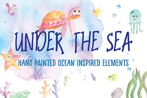 Watercolour sea creatures & elements