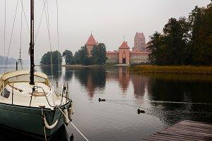 Boat and castle in Trakai