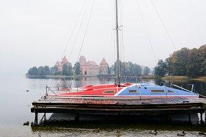 Catamaran and castle in Trakai