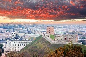 Gediminas Castle in sunset