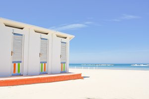 Cabins on the Adriatic beach and sea