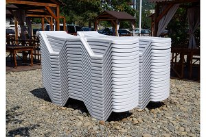 Sun loungers in a stack folded. New