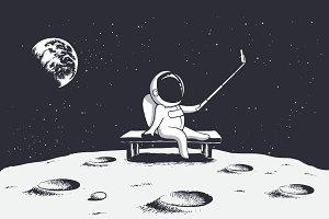 astronaut make selfie on Moon