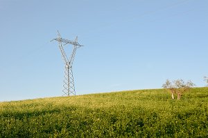 Pylon on green hill