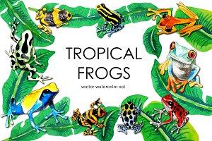 Tropical watercolor vector frogs set
