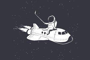 astronaut make selfie on  shuttle